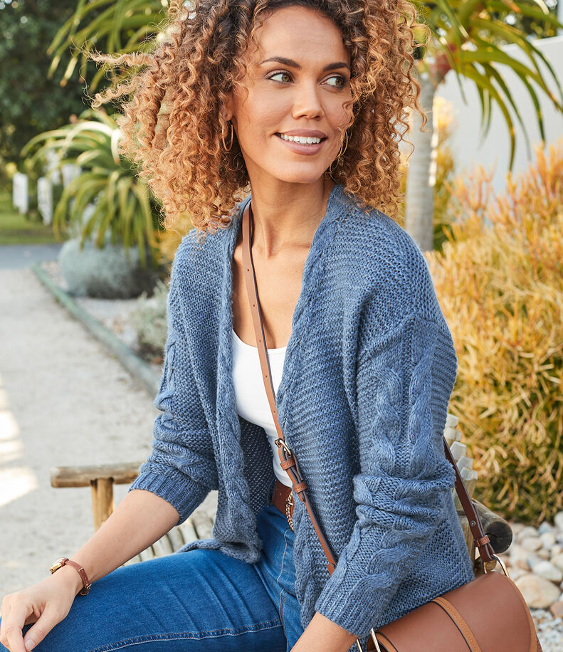 Inspirational Cashmere Knitwear | Cable Cardigan | By Cotton Traders
