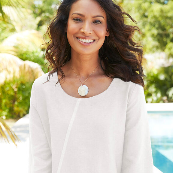 Linen-blend Top   By Cotton Traders