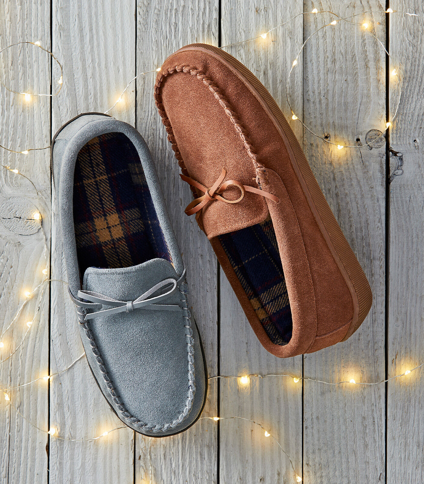 Cosy Nights In | Suede Check Moccasin Slippers | By Cotton Traders