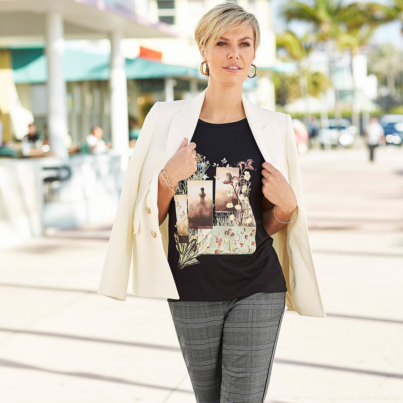 Inspire Me | City Chic | Blazer | Scene Print Top | Elasticated Back Waist Trousers | By Cotton Traders