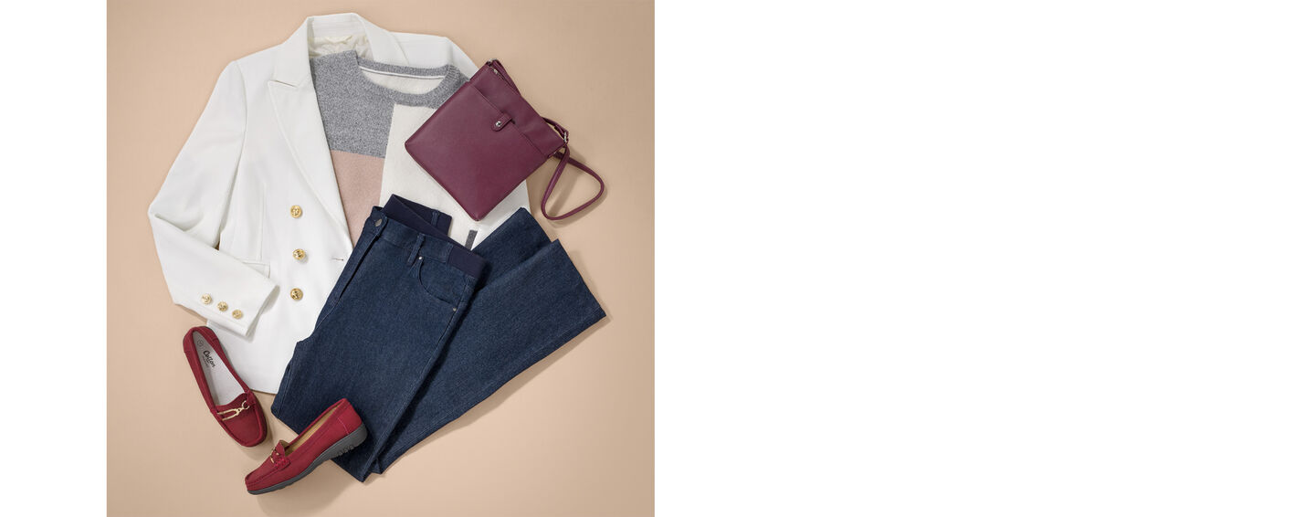 The Colourblock Jumper | Colourblock Colourblock Jumper | The Friday Blazer | Magic Comfort Straight Leg Jeans | Leather Flexisole Loafers | By Cotton Traders