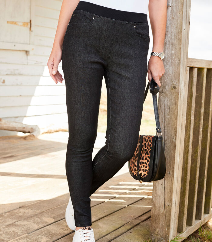 Premium Pull-on Rib Waist Super Slim Jean