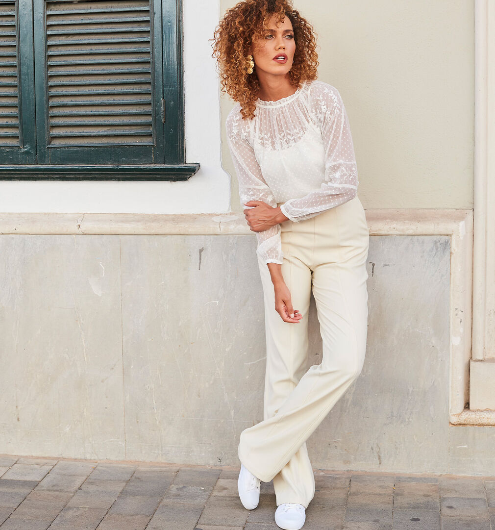The Blissful Blouse | Embroidered Long Sleeve Blissful Blouse | Occasion Trousers | By Cotton Traders
