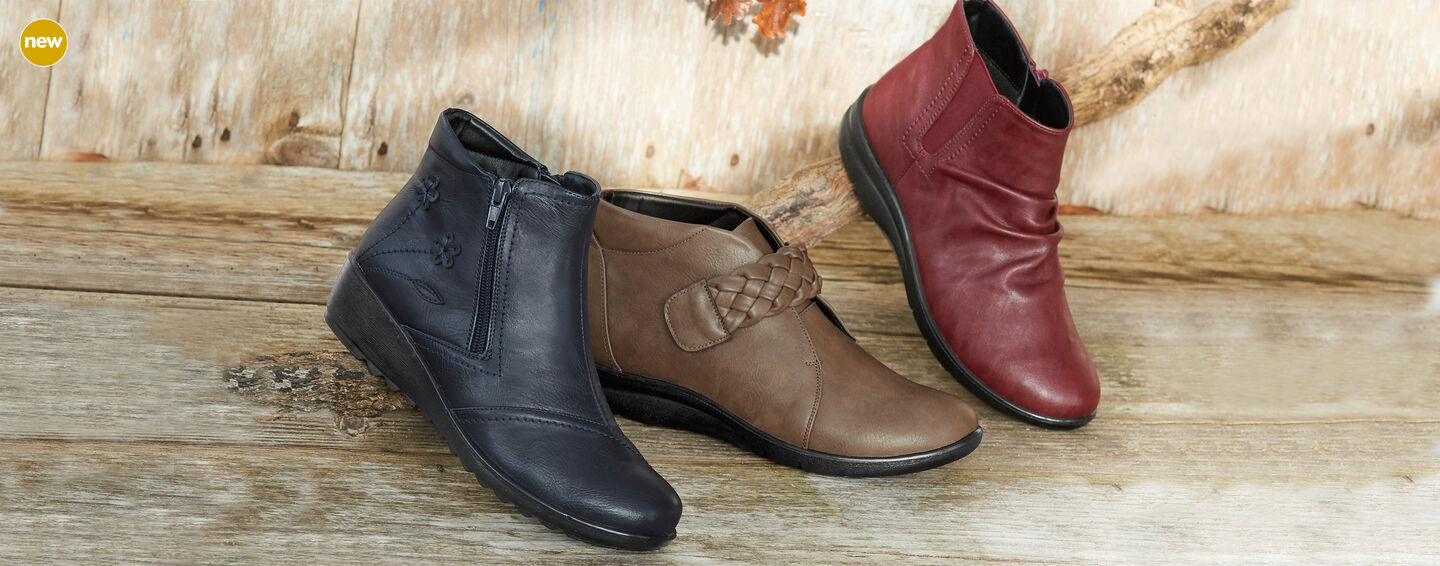 Autumn Footwear | Flexisole Collection | Flexisole Flower Detail Boots | Flexisole Plaited Strap Boots | Flexisole Slouch Boots | By Cotton Traders