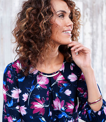 Ready For The Season | Printed Trim Detail Top | By Cottontraders