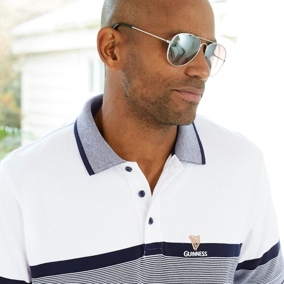 Guinness® Short Sleeve Birdseye Stripe Polo Shirt   By Cotton Traders