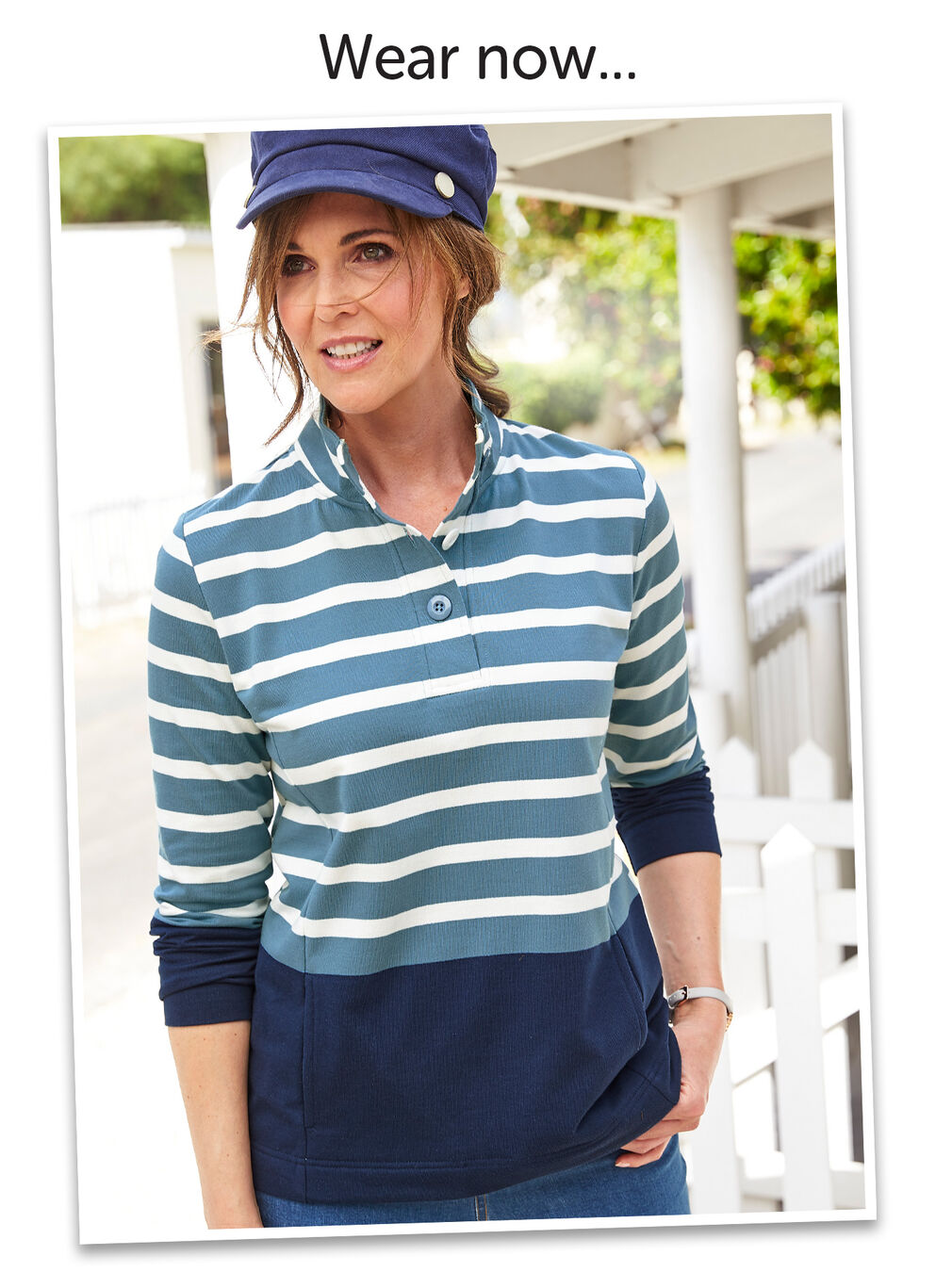 Wear Today Layer Tomorrow Inspirations | Stripe Button Neck Sweatshirt | By Cotton Traders
