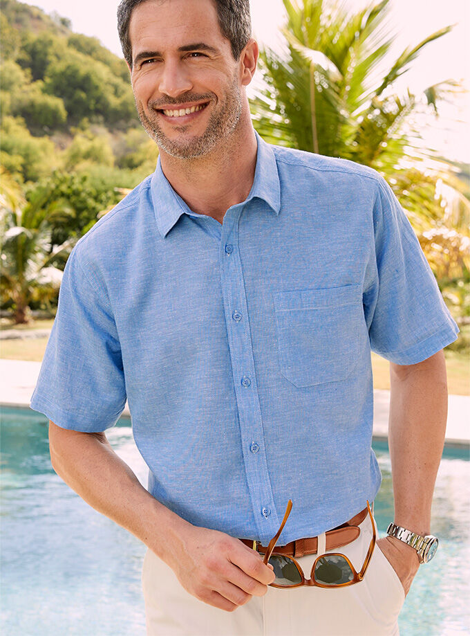 The Linen Collection | Short Sleeve Linen Cotton Shirt | By Cotton Traders