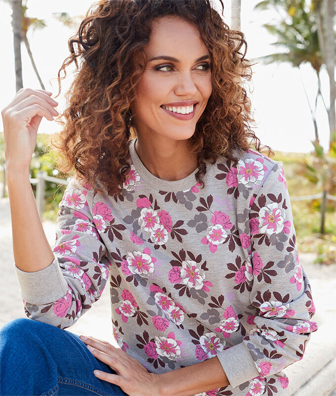 Lighter Jackets | Florals Collection | Grey Marl Printed Sweatshirt | By Cotton Traders