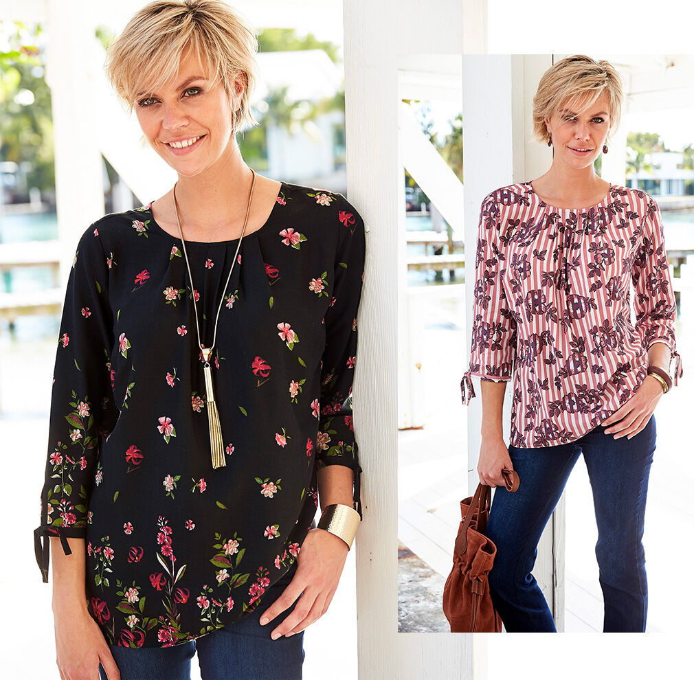 City Chic | Floral Tie Sleeve Top | By Cotton Traders