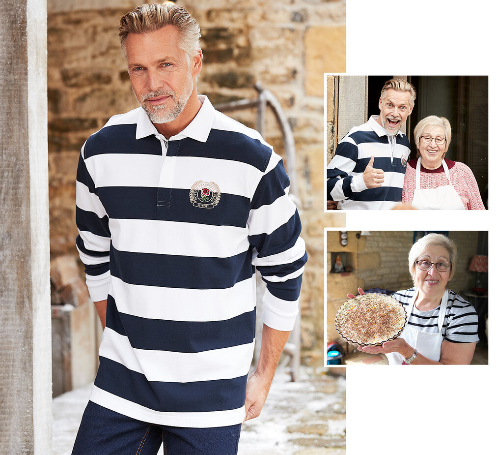 Creating Christmas   Long Sleeve Classic England Stripe Rugby Shirt   By Cotton Traders