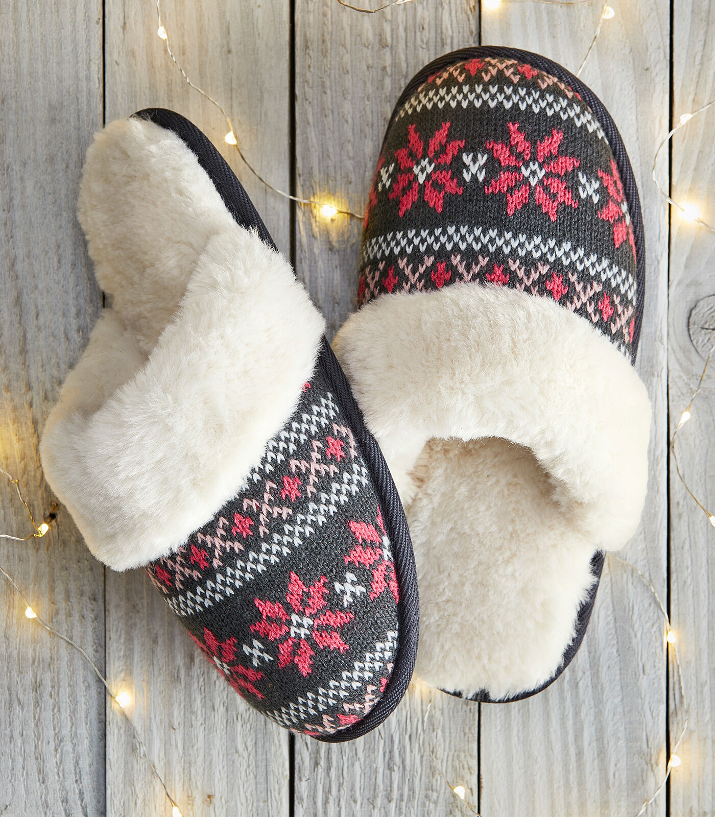 Cosy Nights In | Fair Isle Mule Slippers | By Cotton Traders