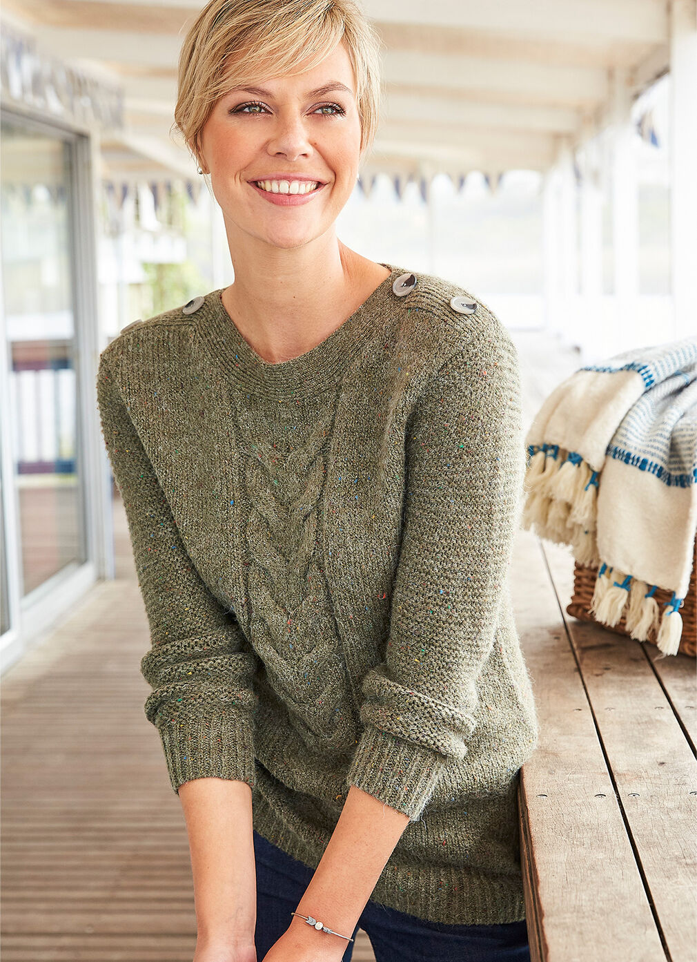 Inspirational Cashmere Knitwear | Flecked Cable Jumper | By Cotton Traders