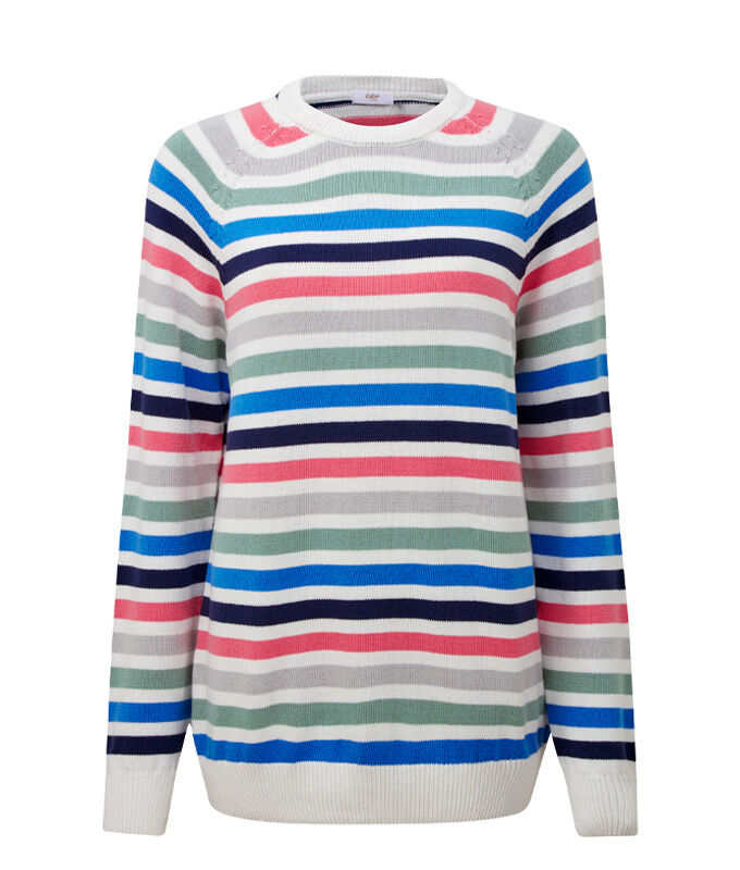 Knitwear Inspirations | Cotton Stripe Crew Neck Jumper | By Cotton Traders