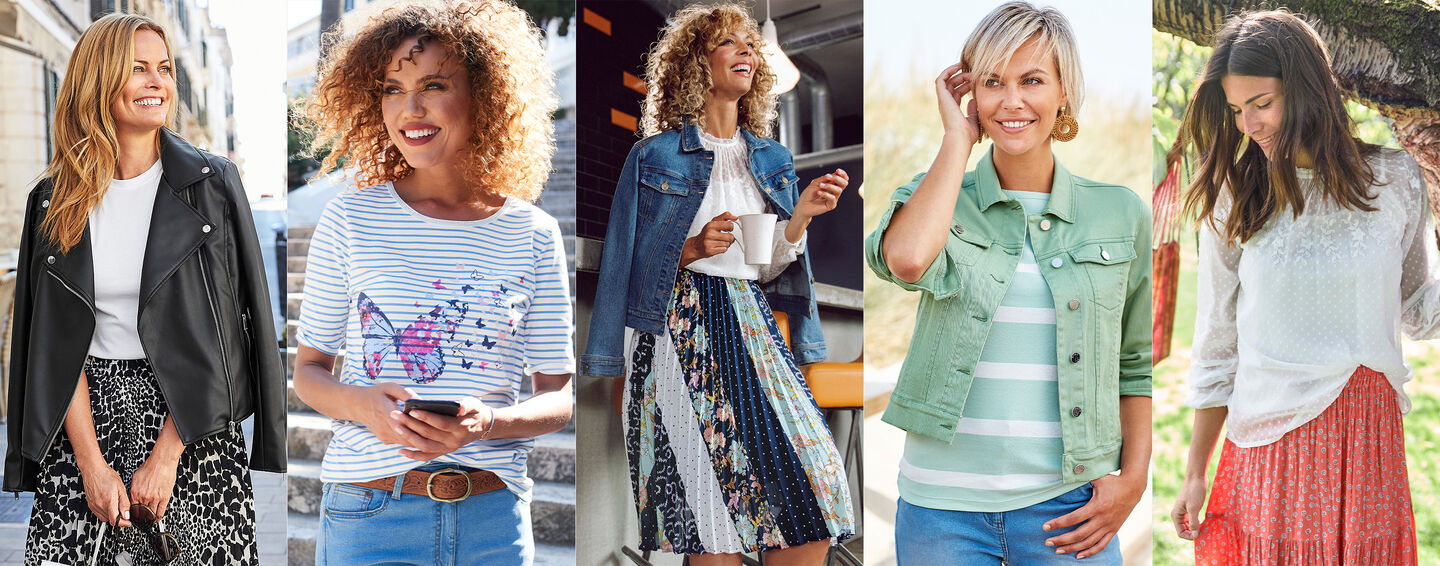 The Spring Collection | Embroidered Long Sleeve Blissful Blouse | Tiered Floral Skirt | Denim Jacket | Swish Pleated Midi Skirt | The Skinny Jeans | Occasion Trousers | By Cotton Traders