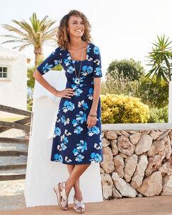 Blue Floral Tummy Control Printed Dress