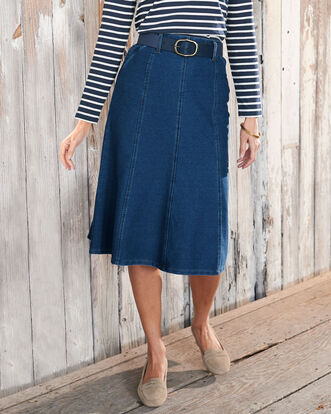 Pull-on Jersey Denim Long Skirt