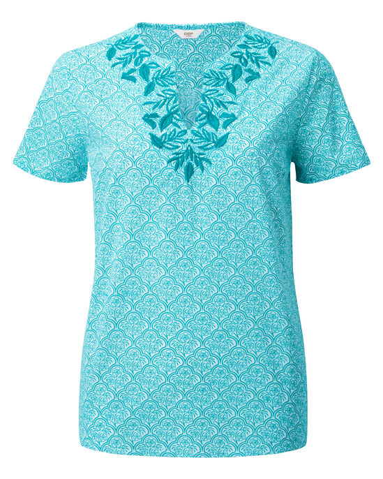 Embroidered Print Top