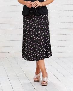 Print Jersey Midi Skirt