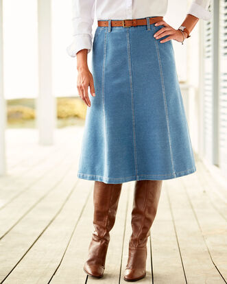 Pull On Jersey Denim Skirt