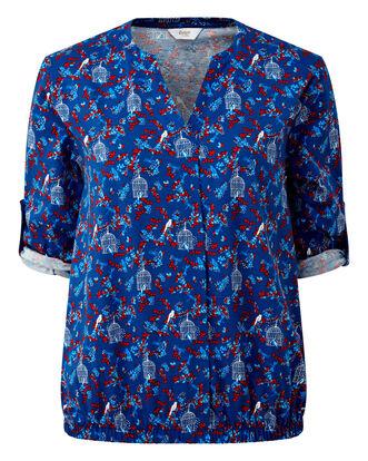 Blue Elasticated Hem Jersey Blouse
