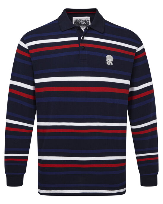 England Rose Long Sleeve Stripe Polo Shirt