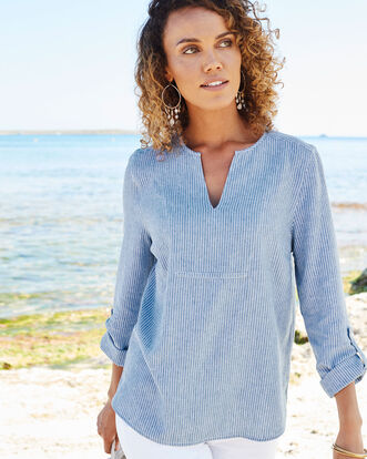 Linen-blend Notch Neck Top
