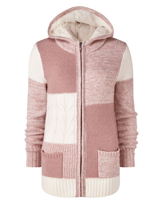 Dusky Pink Hooded Patchwork Cardigan