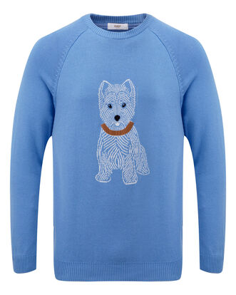 Light Blueberry Cotton Crew Neck Dog Jumper