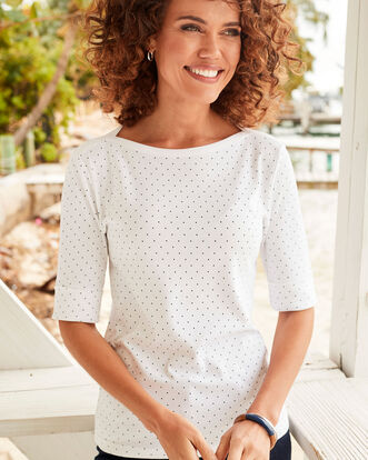 Wrinkle Free 1/2 Sleeve Boat Neck Spot Top
