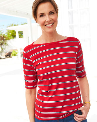 Wrinkle Free 1/2 Sleeve Boat Neck Stripe Top