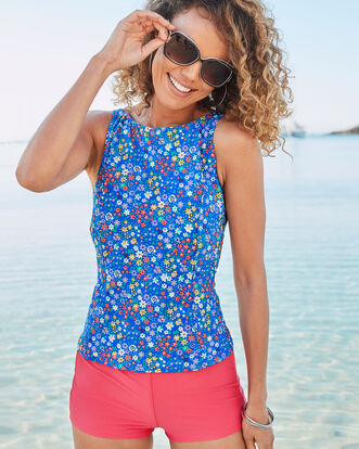 Ditsy Print High Neck Printed Tankini Top