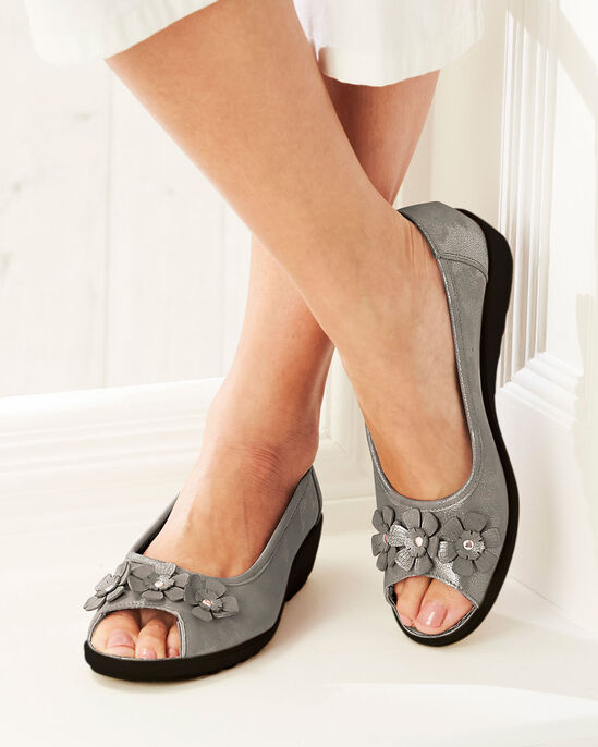 Flexisole Peep Toe Flower Shoes