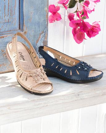 Flower Detail Slingback Sandals
