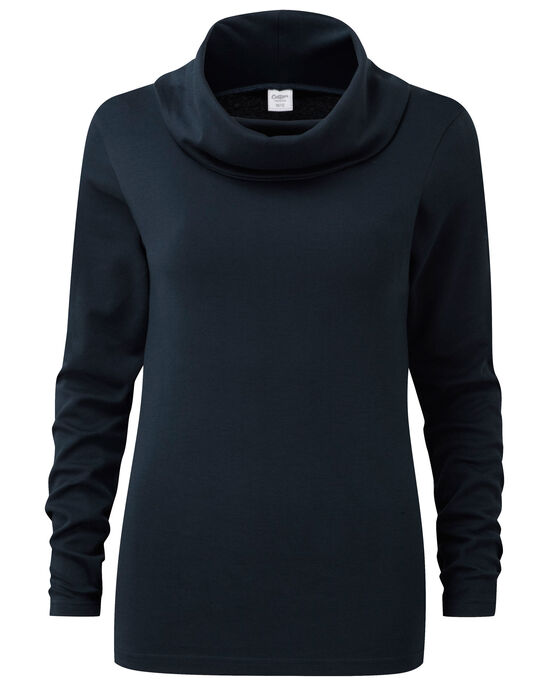 Cowl Neck Interlock Top