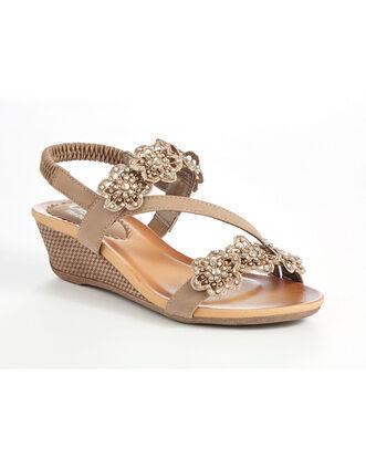Asymmetric Floral Wedge Sandals