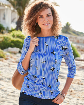 Wrinkle Free Boat Neck Bird Print Top