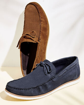 Suede Embossed Loafers