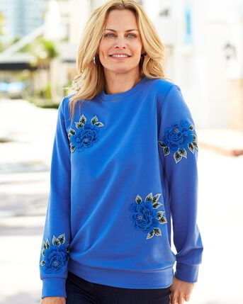 Floral Applique Sweatshirt