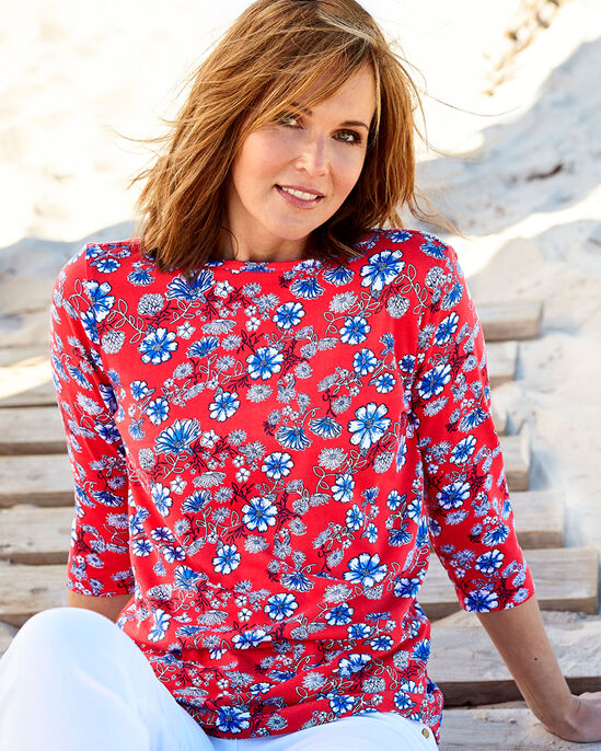 Boat Neck Floral Print Top