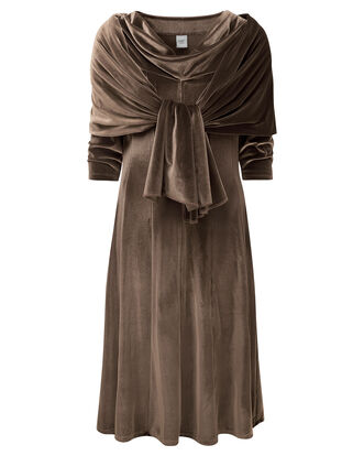 Velour Cowl Neck Dress With Shawl