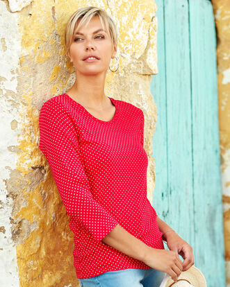 Wrinkle Free Scoop Neck Spot Print Top