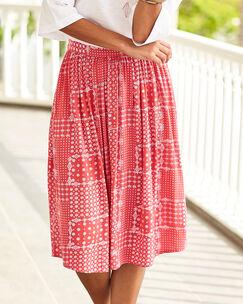 Patchwork Print Midi Skirt