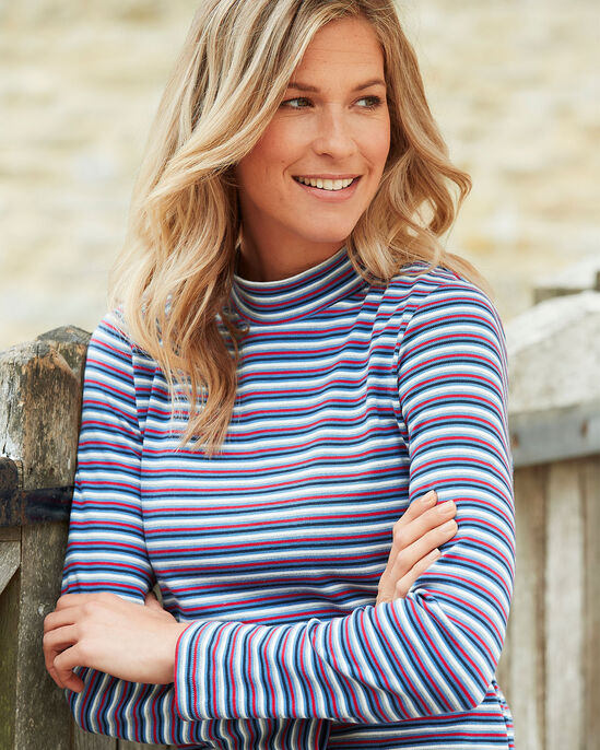 Supersoft Stripe Turtle Neck Top