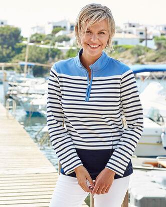 Zip Neck Stripe Sweatshirt