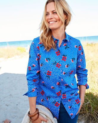 Dot Floral Wrinkle Free Long Sleeve Shirt