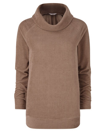 Super Soft Cord Cowl Neck Top