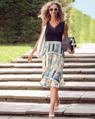 Swishy Pleated Midi Skirt