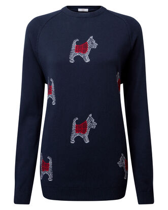 Navy Cotton Crew Neck Dog Jumper
