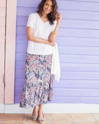 Print Tiered Skirt